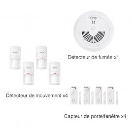 4 Rilevatore di Apertura Porta WiFi abilitato 4 Sensore di Movimento Infrarossi abilitato 1 Sensore di Fumo